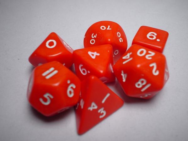 Chessex RPG Dice Sets: Red/White Opaque Polyhedral 7-Die Set