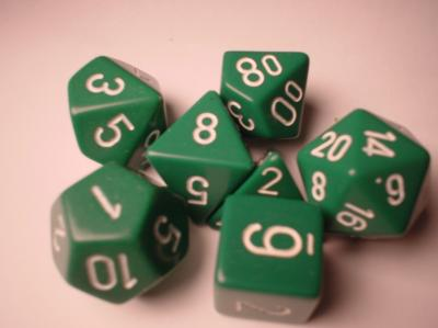 Chessex RPG Dice Sets: Green/White Opaque Polyhedral 7-Die Set