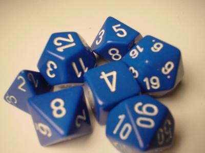 Chessex RPG Dice Sets: Blue/White Opaque Polyhedral 7-Die Set