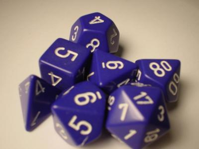 Chessex RPG Dice Sets: Purple/White Opaque Polyhedral 7-Die Set