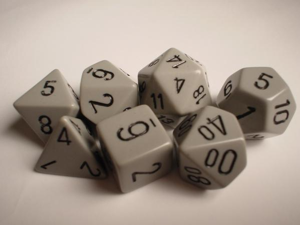 Chessex RPG Dice Sets: Dark Grey/Black Opaque Polyhedral 7-Die Set
