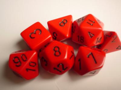 Chessex RPG Dice Sets: Red/Black Opaque Polyhedral 7-Die Set