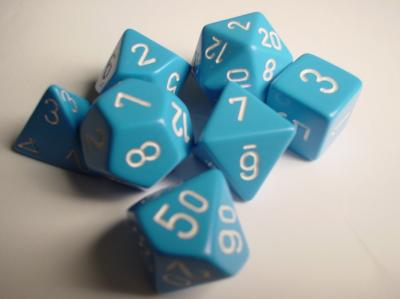 Chessex RPG Dice Sets: Light Blue/White Opaque Polyhedral 7-Die Set