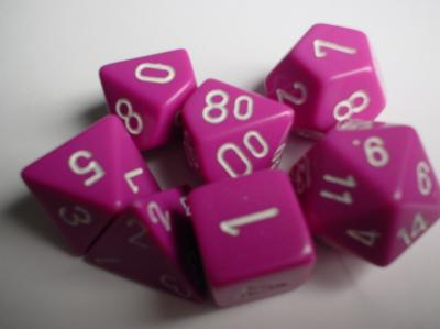 Chessex RPG Dice Sets: Light Purple/White Opaque Polyhedral 7-Die Set