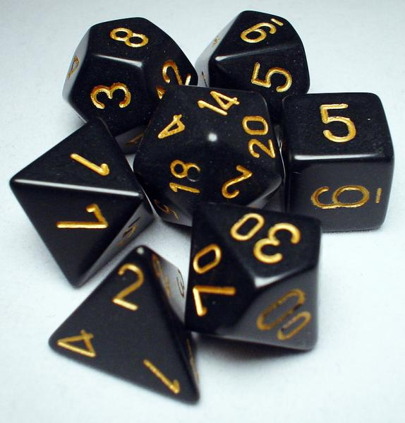 Chessex RPG Dice Sets: Black/Gold Opaque Polyhedral 7-Die Set
