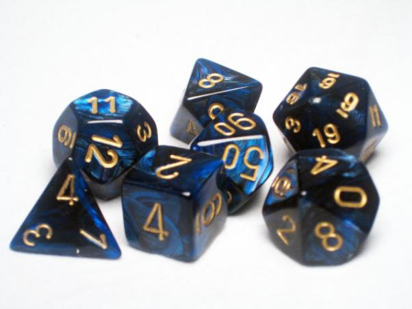 Polyhedral Dice: Scarab Royal Blue/Gold 7-Die Set