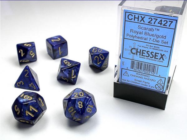 Polyhedral Dice: Scarab Royal Blue/Gold 7-Die Set