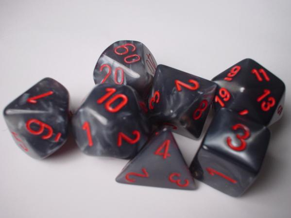 Chessex RPG Dice Sets: Black/Red Velvet Polyhedral 7-Die Set