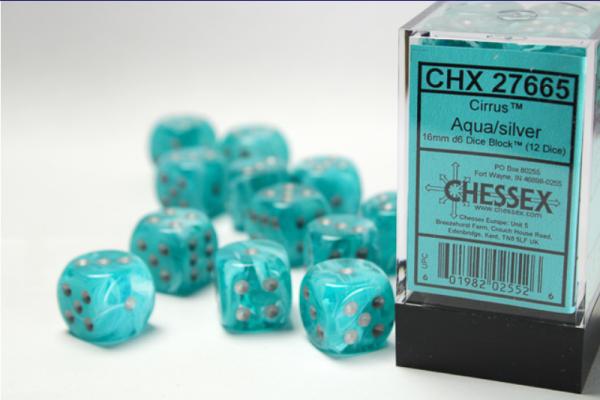 Chessex Dice Sets: Aqua/Silver Cirrus 16mm d6 (12)