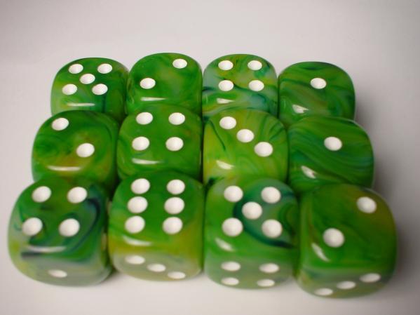 Chessex Dice Sets: Green/White Phantom 16mm d6 (12)