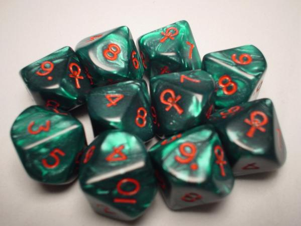 Chessex Special Icon Dice: Ankh Green/Red Pearlized d10