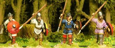 Artizan Designs Carolingians: Carolingian Unarmoured Spearmen Advancing (4)