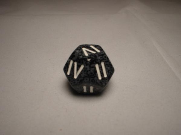 Roman Numeral Dice (I-IV): Arctic Urban d4 (Dark Grey Speckled 12-Sided Die w/White Numerals)
