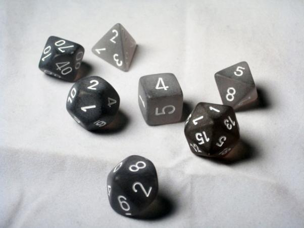 Chessex RPG Dice Sets: Smoke/White Frosted Polyhedral 7-Die Set