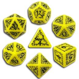 Exotic Dice Sets: Yellow & Black Elvish Dice (7)