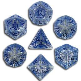Exotic Dice Sets: Transparent & Blue Elvish Dice (7)