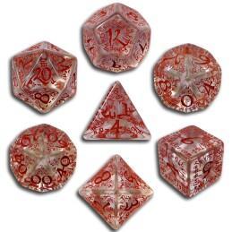 Exotic Dice Sets: Transparent & Red Elvish Dice (7)