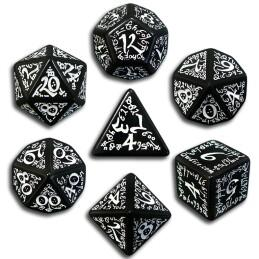 Exotic Dice Sets: Black & White Elvish Dice (7)