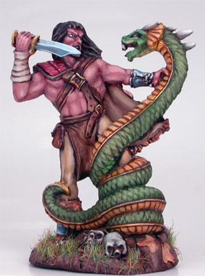 Male Barbarian Fighting Snake Beast