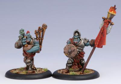 (Trollbloods) Kriel Warrior Standard Bearer & Piper Unit Attachment