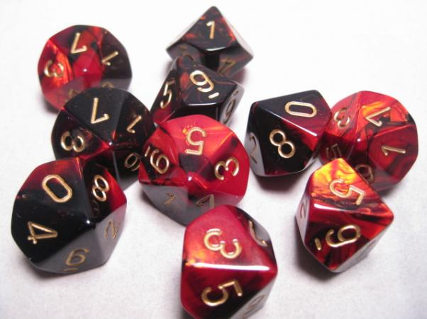Chessex Dice Sets: Black-Red/Gold Gemini d10 Set (10)