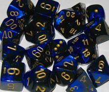 Chessex Dice Sets: Black-Blue/Gold Gemini d10 Set (10)