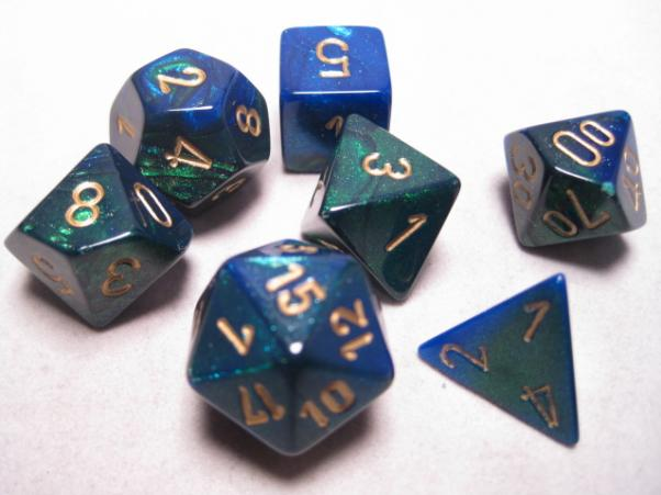 Chessex RPG Dice Sets: Blue-Green/Gold Gemini Polyhedral 7-Die Set
