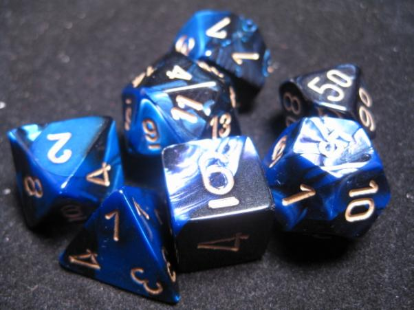 Chessex RPG Dice Sets: Black-Blue/Gold Gemini Polyhedral 7-Die Set