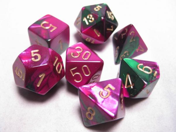 Chessex RPG Dice Sets: Green-Purple/Gold Gemini Polyhedral 7-Die Set