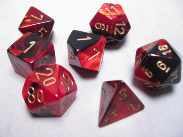 Chessex RPG Dice Sets: Black-Red/Gold Gemini Polyhedral 7-Die Set