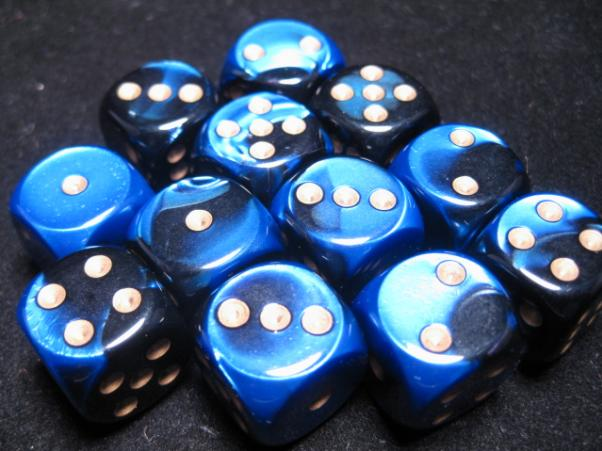 Chessex Dice Sets: Black-Blue/Gold Gemini 16mm d6 (12)