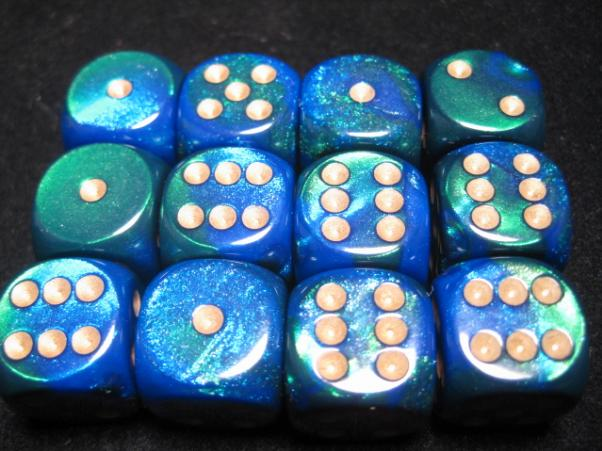 Chessex Dice Sets: Blue-Green/Gold Gemini 16mm d6 (12)