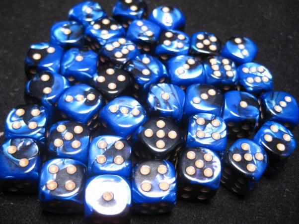 Chessex Dice Sets: Black-Blue/Gold Gemini 12mm d6 (36)