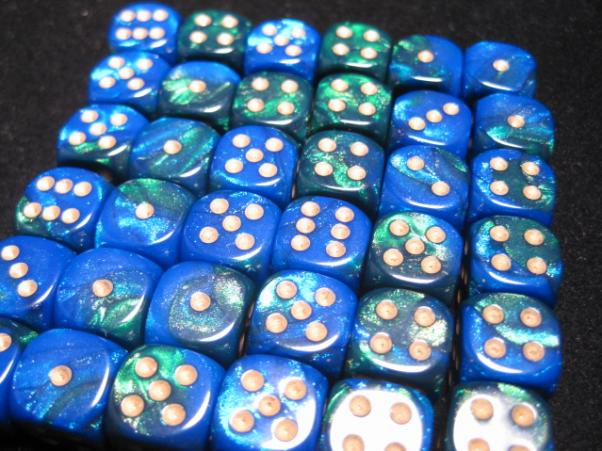Chessex Dice Sets: Blue-Green/Gold Gemini 12mm d6 (36)