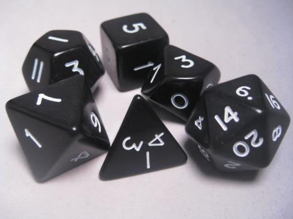 Jumbo RPG Dice Sets: Black/White Opaque Polyhedral 6-Die Set