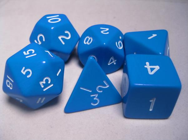 Jumbo RPG Dice Sets: Blue/White Opaque Polyhedral 6-Die Set
