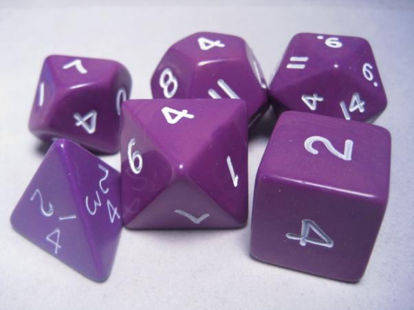 Jumbo RPG Dice Sets: Purple/White Opaque Polyhedral 6-Die Set