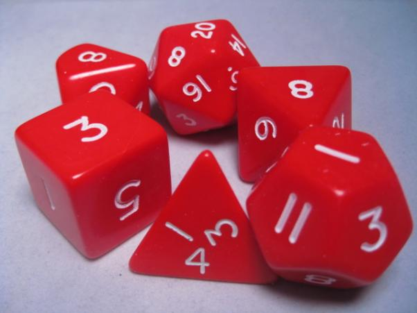 Jumbo RPG Dice Sets: Red/White Opaque Polyhedral 6-Die Set