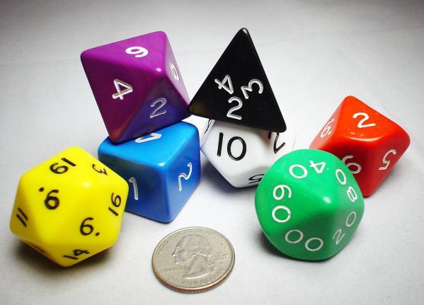 Jumbo RPG Dice Sets: Assorted Opaque Polyhedral 7-Die Set