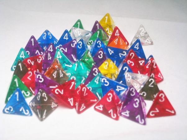 Chessex Bulk Dice Sets: Assorted Translucent d4 Bag (50)