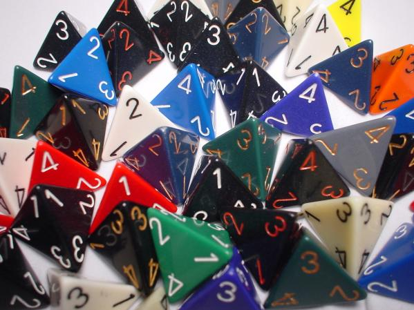 Chessex Bulk Dice Sets: Assorted Opaque d4 Bag (50)