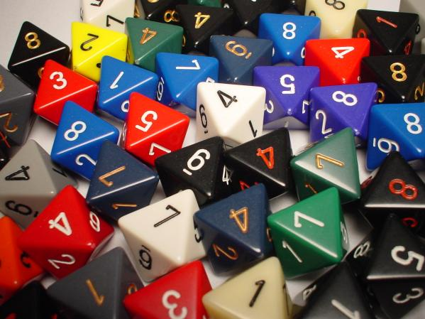Chessex Bulk Dice Sets: Assorted Opaque d8 Bag (50)