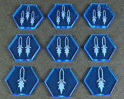 Space Tokens: Space Missile Tokens (Set of 9, Fluor. Blue)