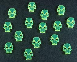 Mini Skulls (Set of 15) Fluorescent Green