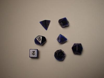 Dwarven Stone Dice: 14mm Blue Synthetic Cat's Eye Polyhedral 7-Die Set