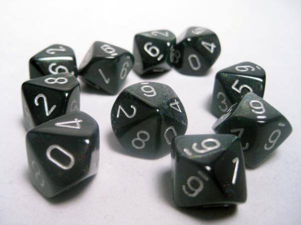 Chessex Dice Sets: Smoke/Silver Borealis d10 Set (10)