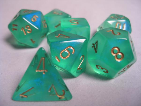 Chessex RPG Dice Sets: Light Green/Gold Borealis Polyhedral 7-Die Set