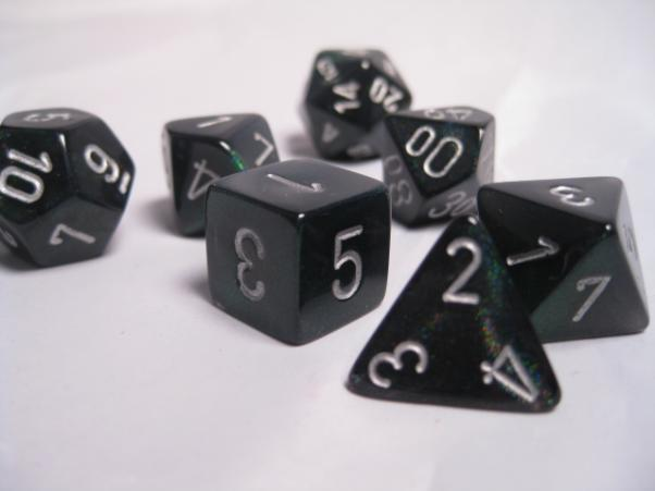 Chessex RPG Dice Sets: Smoke/Silver Borealis Polyhedral 7-Die Set