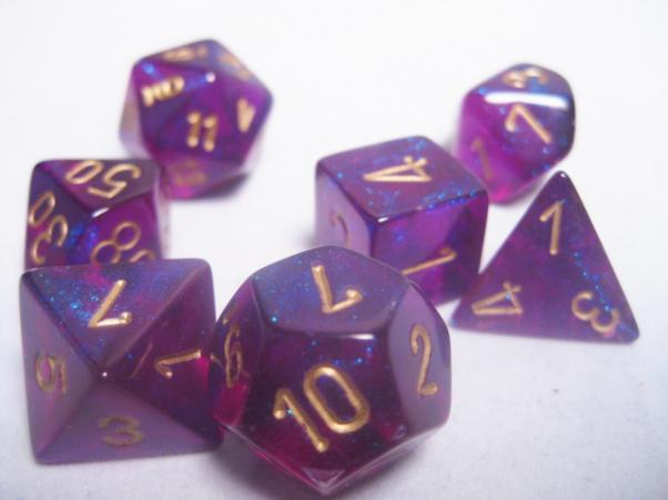 Chessex RPG Dice Sets: Royal Purple/Gold Borealis Polyhedral 7-Die Set