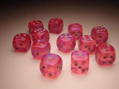 Chessex Dice Sets: Pink/Silver Borealis 16mm d6 (12)
